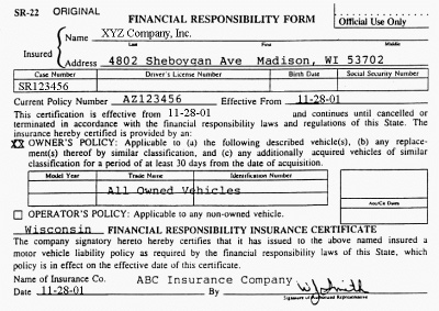 Example of an SR-22 Form