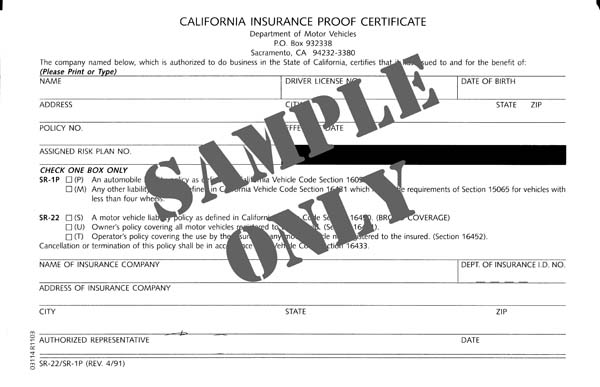 See how an SR-22 form is